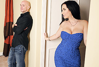 Jayden Jaymes takes her slutty blue dress off and gets screwed by her handsome bald bloke