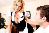 Nikki Benz takes her slutty dress off and gets her shaved vagina drilled by big throbbing piece of meat