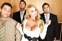 Taylor Wane takes her slutty white dress off and gets screwed by a couple of horny guys