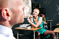 Joslyn James takes her sexy green dress off and pleases her handsome lover with an amazing deep blowjob
