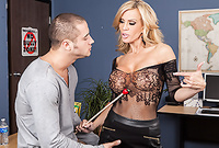 Amber Lynn takes her sexy black dress off and gets her hungry vagina drilled by incredibly hard big schlong