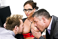 Phoenix Marie takes her classy outfit off and then fucks with two horny, handsome studs for the camera