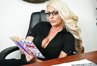 Sadie Swede slowly strips her cltothes in the office and shows us her amazing big round breasts