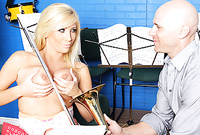 Tasha Reign kneels before her handsome lover and then sucks his throbbing piece of meat