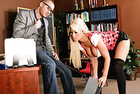Bridgette B spreads her sexy legs in black stockings and then rides a stiff hard cock
