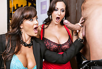 Ava Addams and Lisa Ann strip their classy lingerie for the camera and sucks her lover's throbbing cock