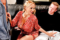Julia Ann kneels before her handsome lover and slurps his throbbing piece of hard meat