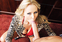 Julia Ann shows us her bouncy big jugs as she pleases her handsome lover with an amazing deep blowjob