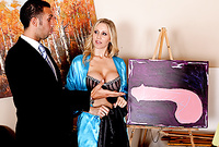 Julia Ann spreads her sexy legs for the camera and gets her hungry muff drilled by big throbbing piece of meat