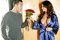 Ariella Ferrera takes her sexy blue satin lingerie off and sucks her lover's big piece of meat