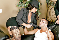 Lisa Ann takes her classy gangster outfit off and then has crazy hot sex with a crook