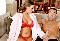 Lexxxi Lockhart takes her sexy lingerie for the camera and then sucks her lover's big piece of meat