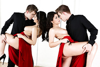 Valentina Nappi strips her classy red dress and gets her muff drilled by her dancing partner Danny D
