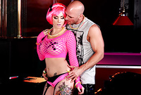 Ashton Pierce wears kinky pink lingerie while she gets her hungry wet muff banged hard by her handsome hung lover