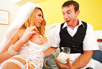 Brynn Tyler takes her sexy white bridal lingerie off and then sucks her lover's big piece of meat