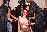 Nicki Hunter takes her clothes off and then gets brutally fucked by couple of horny cultists