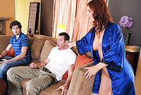 Syren DeMer takes her sexy blue satin robe off and then gets her hungry MILF pussy drilled by young stud