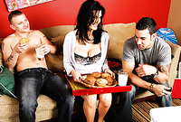 Shay Sights removes her sexy lingerie and then fucks with two handsome hung blokes on the sofa