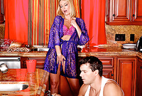 Brenda James strips her sexy blue lace robe and then gets her muff drilled by her handsome lover