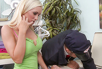 Brandi Edwards kneels before her handsome lover and then slurps on throbbing piece of hard wood