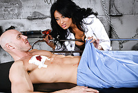 Anissa Kate takes all of her clothes before the camera and then sucks passionately a big throbbing dong