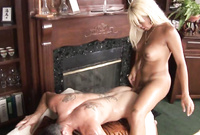 Busty blonde shemale babe passionately bangs her lover's tight tattooed ass before the camera