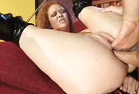 Audrey Hollander spreads her sexy legs before the camera and gets her muff nailed by big boner