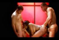 Jada Fire takes all of her clothes on the bed and gets screwed by two big stiff meat poles
