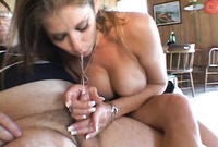 Felony shows us her amazing big jugs as she strokes off a throbbing piece of hard wood
