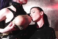 Anastasia Pierce and her kinky brunette friend strip together and have amazing dyke BDSM sex