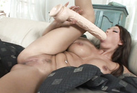 Anna Nova shows us her amazing curv body and pokes her hungry muff with a big dildo