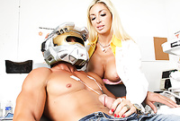 Evita Pozzi goes down on her knees and then treats her handsome lover with an amazing deep blowjob