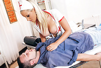 Marry Queen takes her slutty nurse outfit off and then passionately pleases her hung lover with a killer blowjob