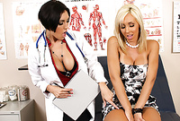 Dylan Ryder and Jessica Lynn strip their slutty clothes before the camera and then get their pussies banged hard