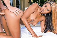 Sierra Saint moans and screams as her handsome lover pounds her shaved wet meat hole with huge stiff cock