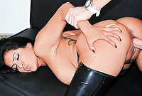 Kiara Mia spreads her slutty black legs in boots and gets her shaved vagina banged hard and fast