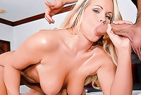 Britney Young takes all of her clothes before the camera and then wanks her lover's big stiff meat rod