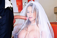 Alanah Rae wears her sexy bridal lingerie as she pleases her handsome lover with an amazing deep blowjob