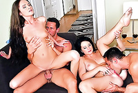 Sybille Watson and her alluring busty brunette lover and get their pussies rammed hard and fast in front of the camera