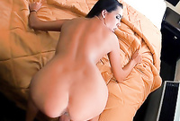Rose Sin takes her little panties off on the bed and gets her hungry cunt banged by large throbbing meat rod