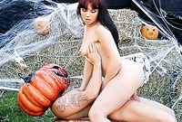 Ava Rose shows us her fantastic big jugs and screams as she gets brutally fucked by a pumpkin monster