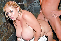 Samantha 38G exposes her amazing big jugs and screams while she gets her tight bush drilled by throbbing hard wood
