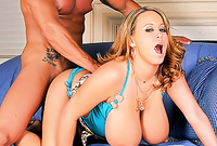 Brandy Talore shows us her amazing big jugs and screams while she gets her fucked from behind brutally