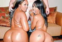 Kapri Styles and her naughty hot black friend strip together for the camera and share one big stiff meat rod