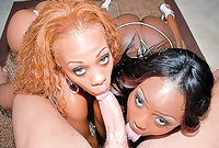 Melrose and her passionate black friend strip together and share one throbbing piece of hard wood