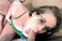 Gynger kneels before her handsome lover and treats her handsome lover with an amazing passionate deep blowjob