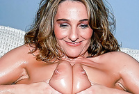 Tiffanee shows us her amazing big jugs and screams as she gets her tight muff drilled hard and fast before the camera