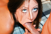 Liza goes down on her knees before her handsome lover and treats him with an amazing passionate blowjob