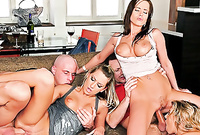 Kristy Lust and her naughty hot friend strip together in the living room and have amazing passioante sex before the camera