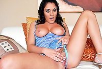 Charley Chase shows us her amazing big jugs and passionately fingers her hungry deep meat hole